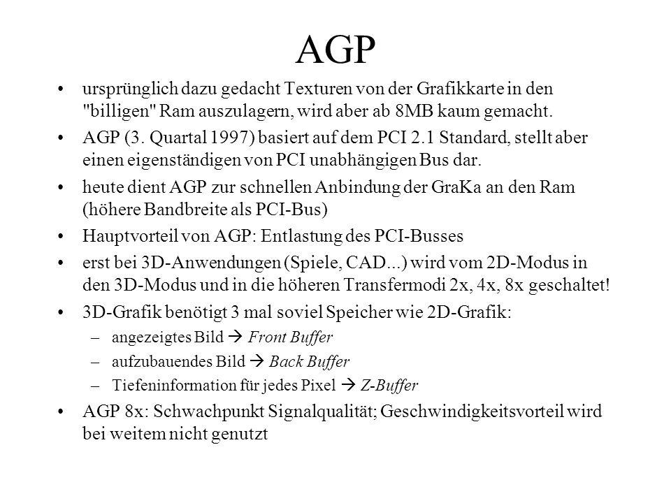 AGPursprünglich dazu gedacht Texturen von der Grafikkarte in den billigen Ram auszulagern, wird aber ab 8MB kaum gemacht.