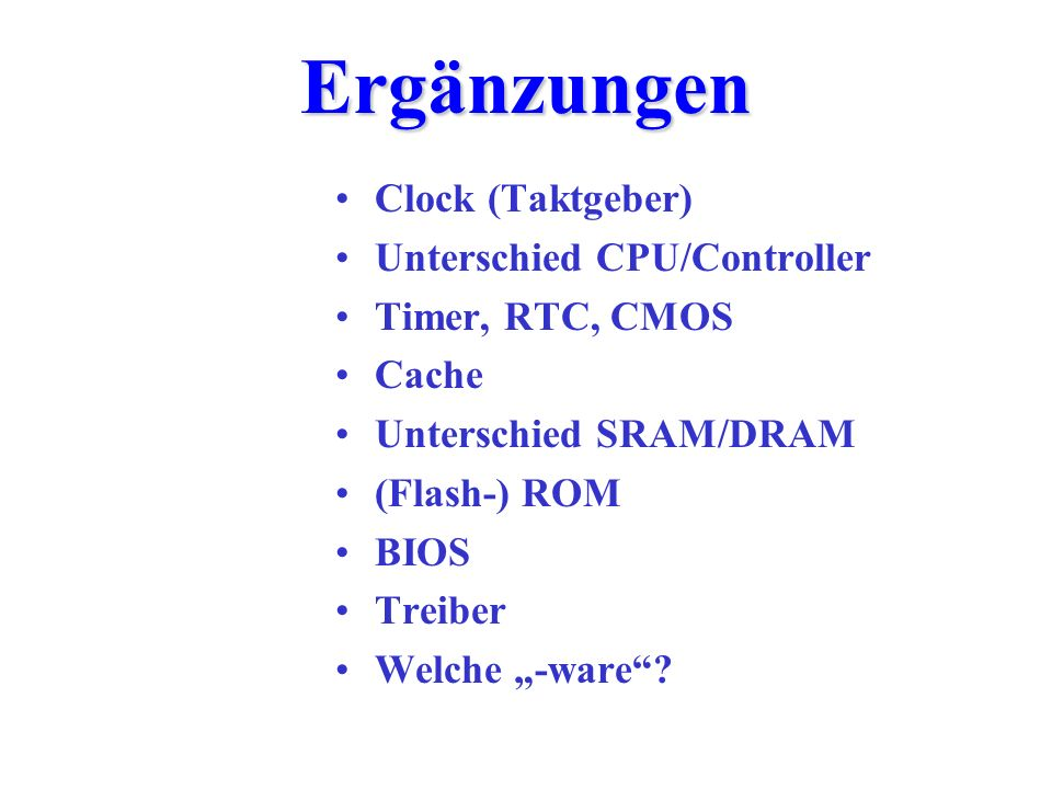 Ergänzungen Clock (Taktgeber) Unterschied CPU/Controller