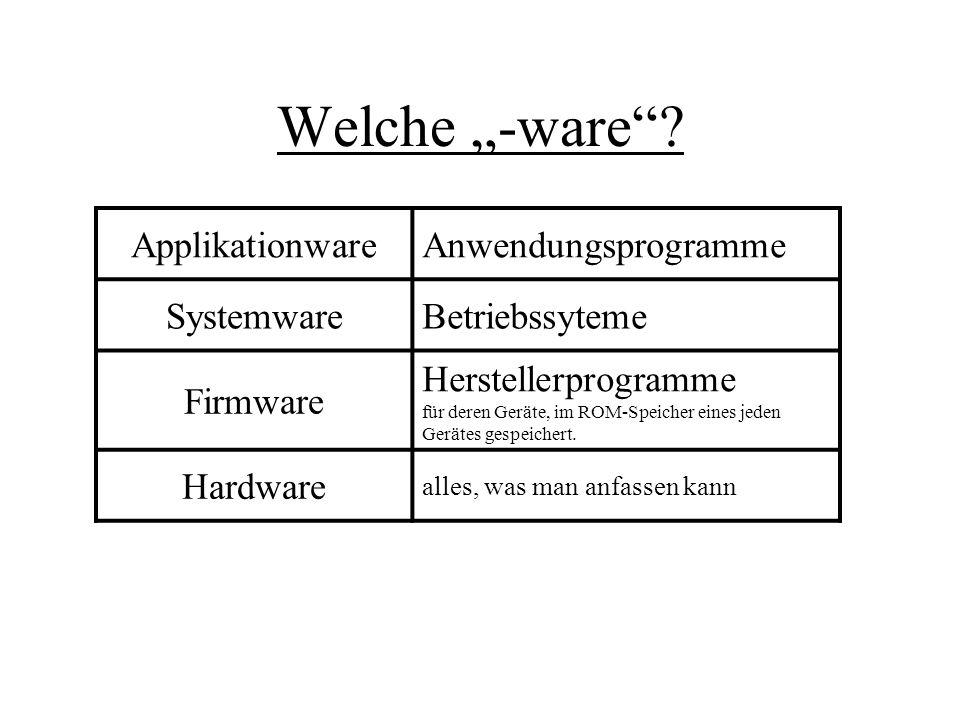 """Welche """"-ware Applikationware Anwendungsprogramme Systemware"""