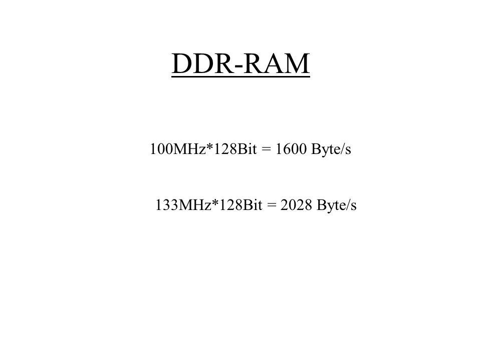 DDR-RAM 100MHz*128Bit = 1600 Byte/s 133MHz*128Bit = 2028 Byte/s