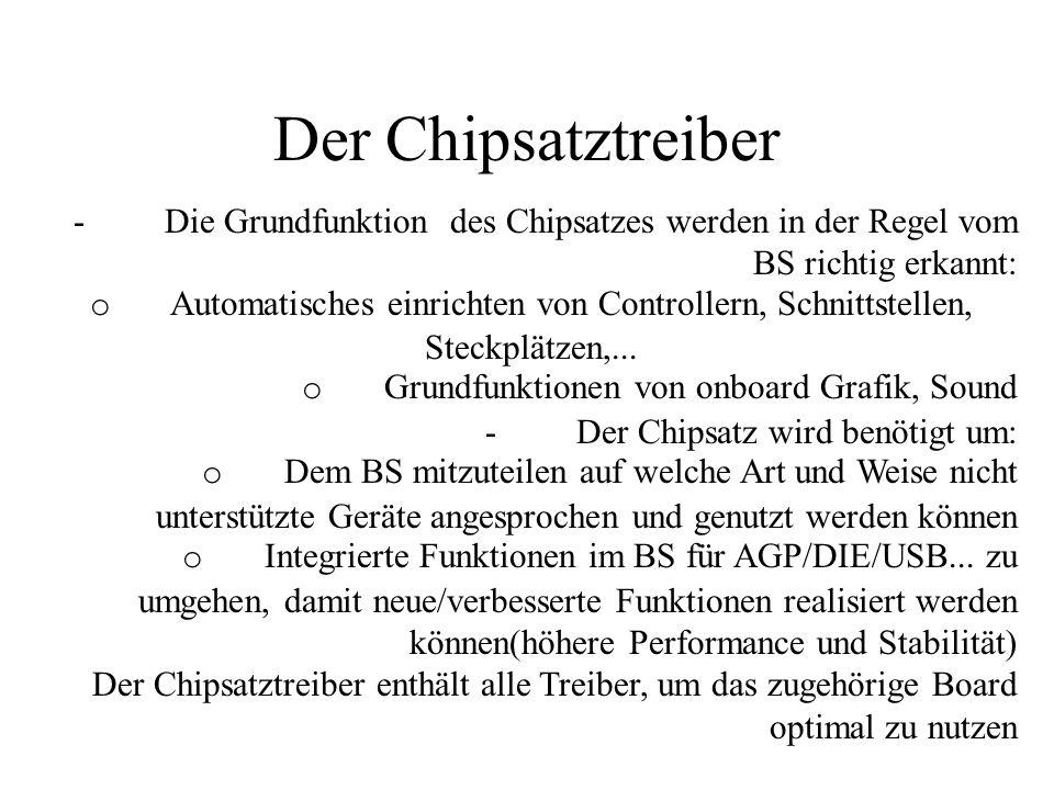 Der Chipsatztreiber- Die Grundfunktion des Chipsatzes werden in der Regel vom BS richtig erkannt: