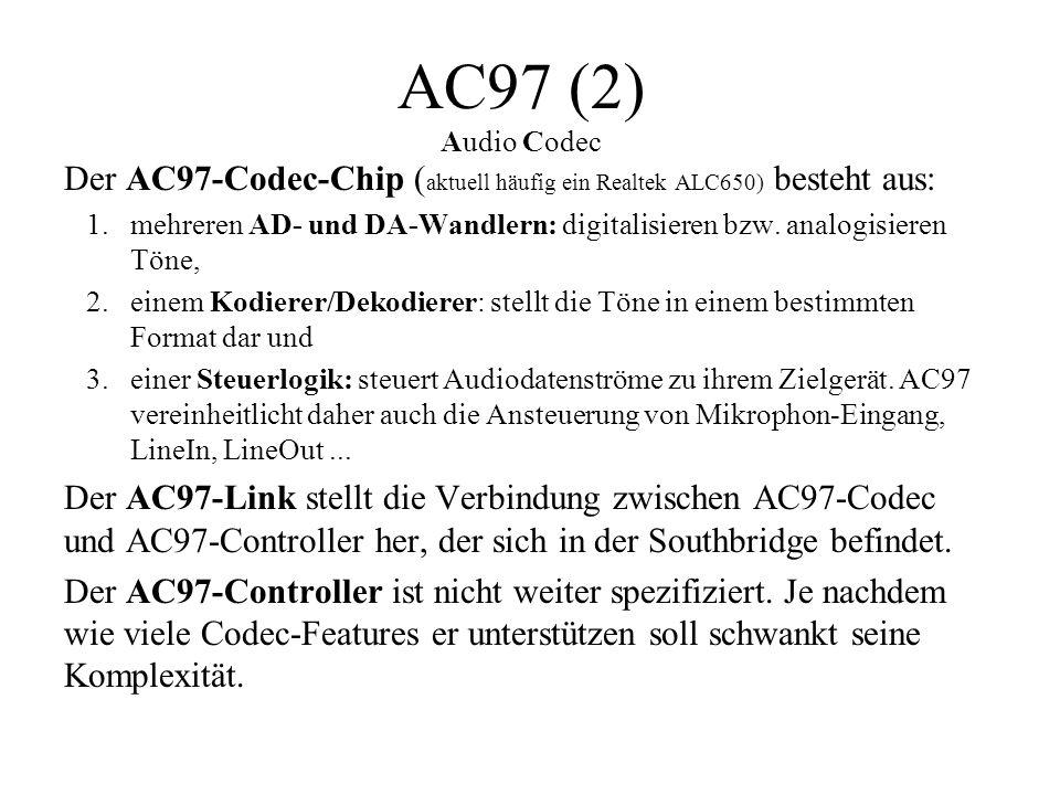 AC97 (2) Audio Codec Der AC97-Codec-Chip (aktuell häufig ein Realtek ALC650) besteht aus: