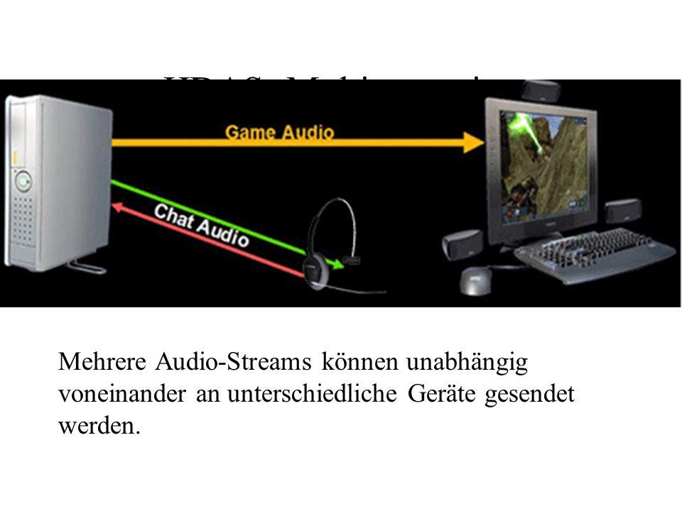 HDAS: MultistreamingMehrere Audio-Streams können unabhängig voneinander an unterschiedliche Geräte gesendet werden.