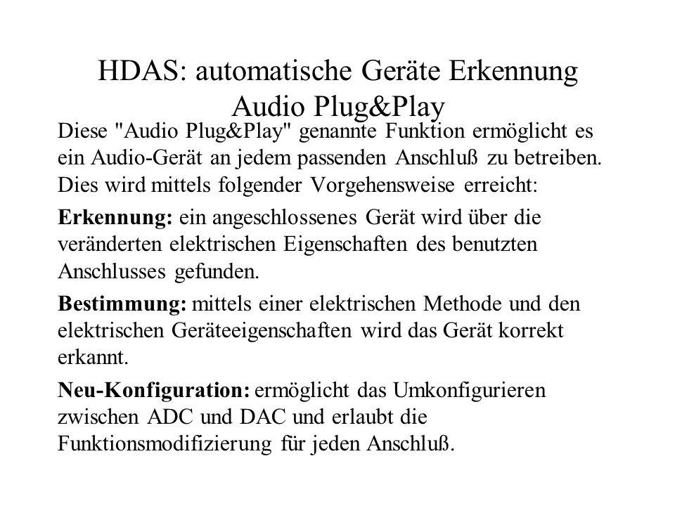 HDAS: automatische Geräte Erkennung Audio Plug&Play