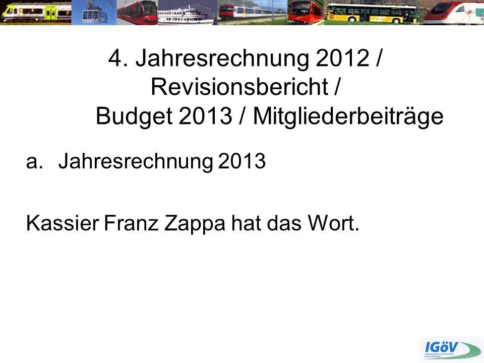 4. Jahresrechnung 2012 / Revisionsbericht /