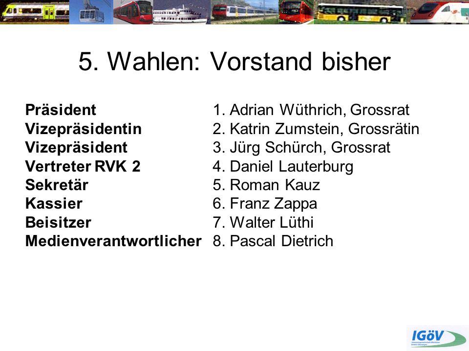 5. Wahlen: Vorstand bisher