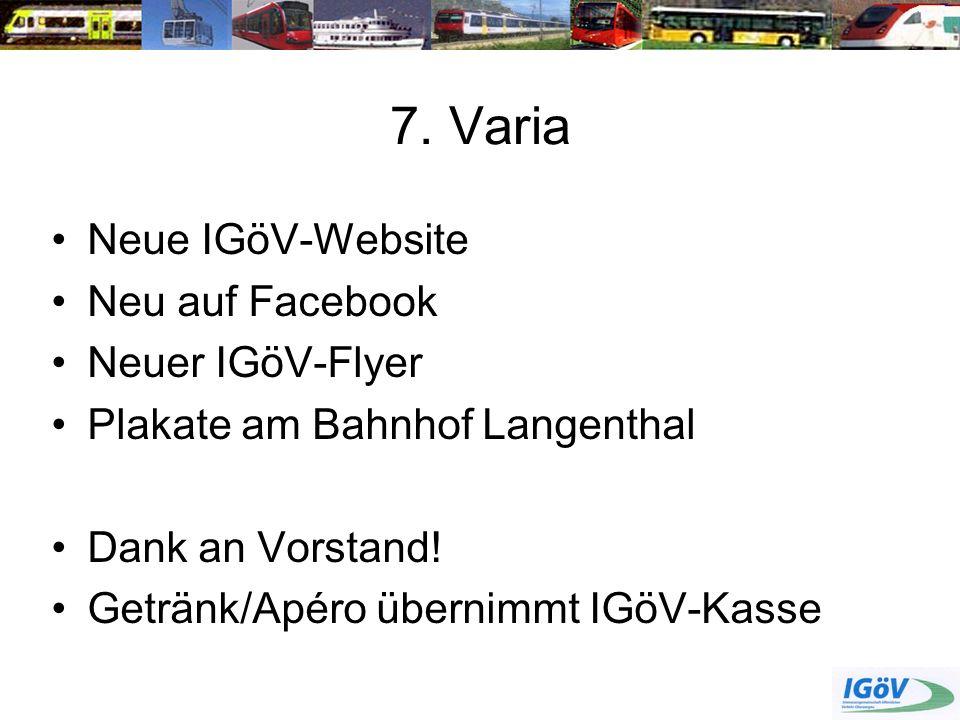 7. Varia Neue IGöV-Website Neu auf Facebook Neuer IGöV-Flyer
