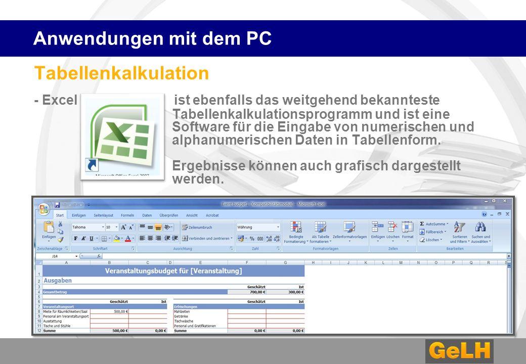 Anwendungen mit dem PC Tabellenkalkulation.