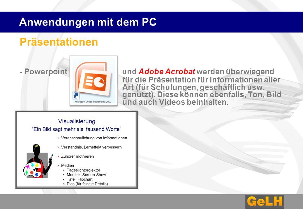 Anwendungen mit dem PC Präsentationen.