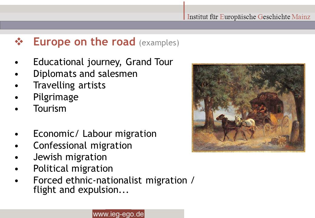 Europe on the road (examples)