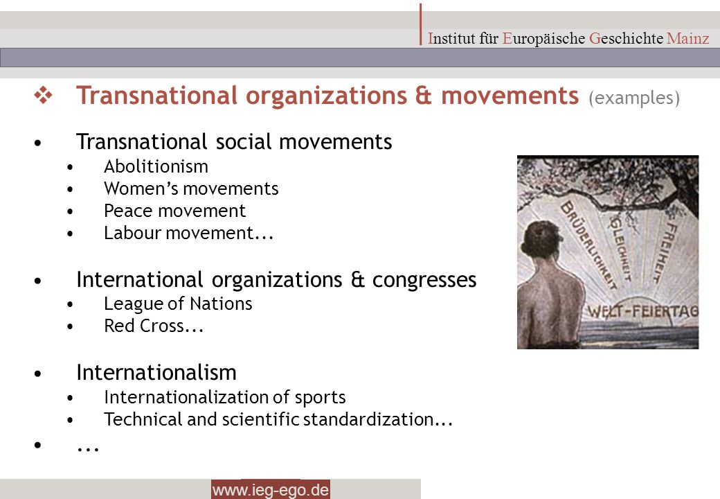 Transnational organizations & movements (examples)