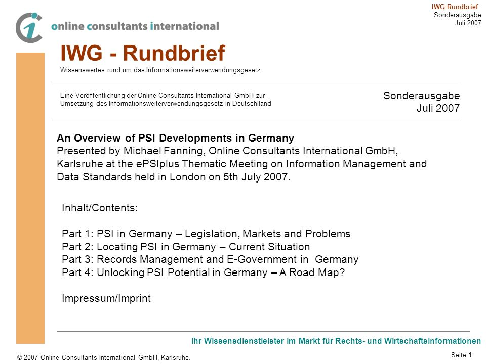 IWG - Rundbrief Sonderausgabe Juli 2007