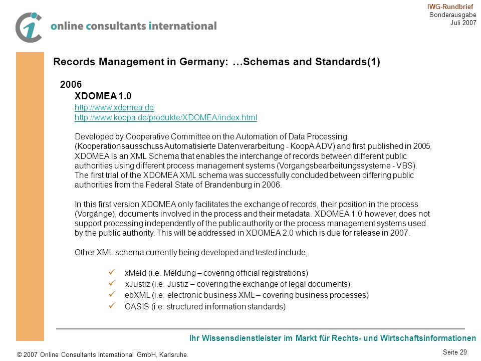 Records Management in Germany: …Schemas and Standards(1)