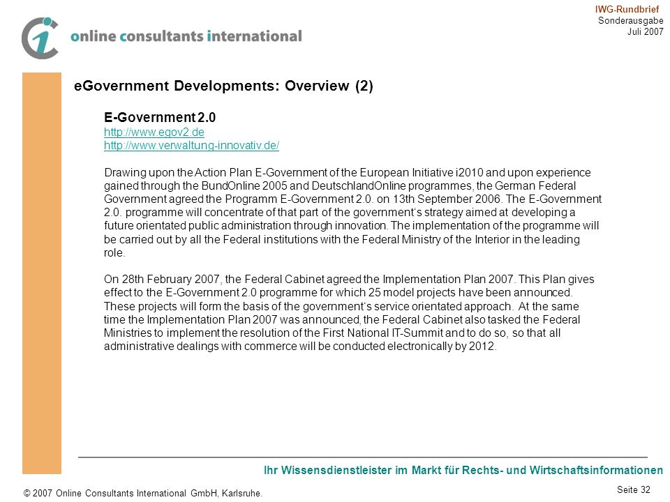 eGovernment Developments: Overview (2)