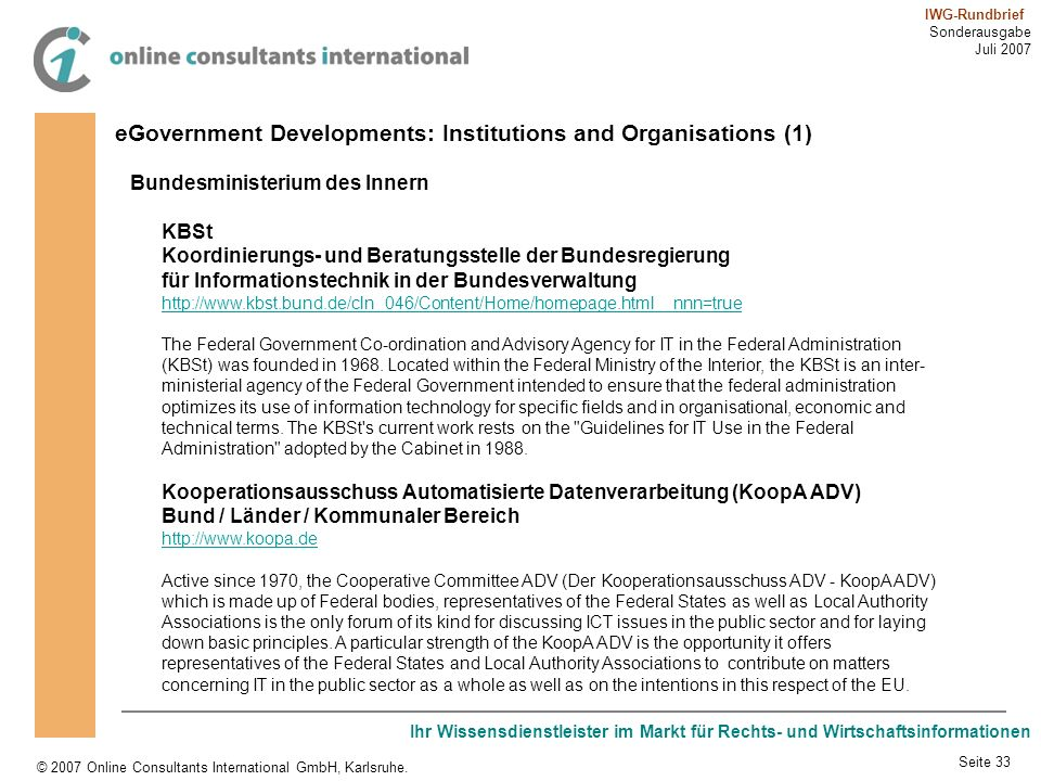 eGovernment Developments: Institutions and Organisations (1)