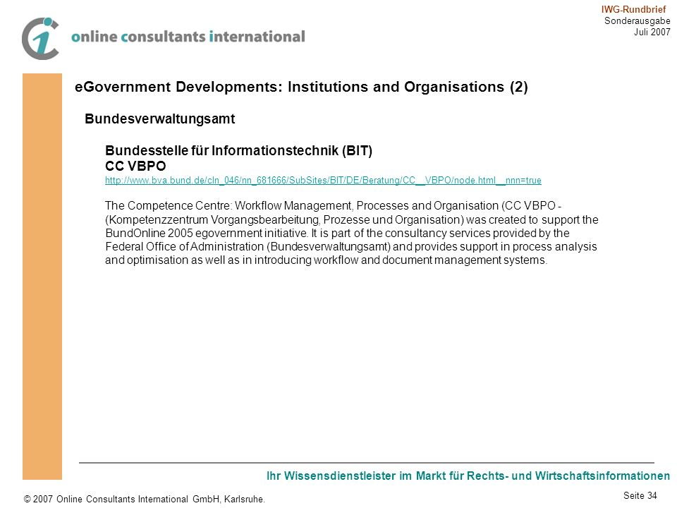 eGovernment Developments: Institutions and Organisations (2)