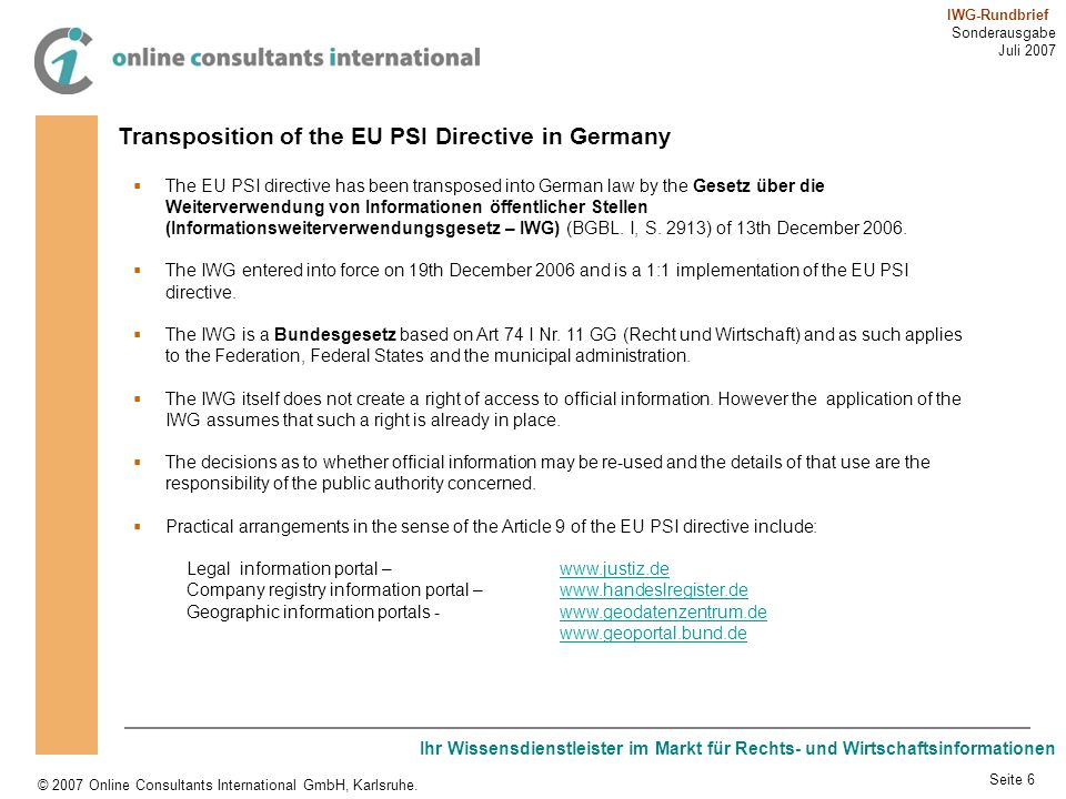 Transposition of the EU PSI Directive in Germany