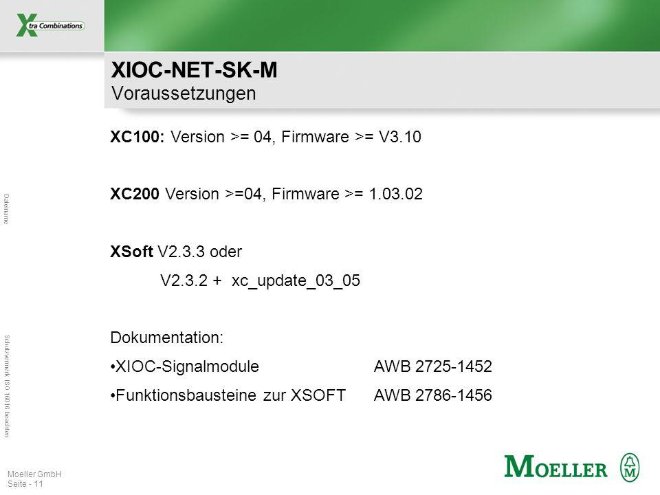 XIOC-NET-SK-M Voraussetzungen