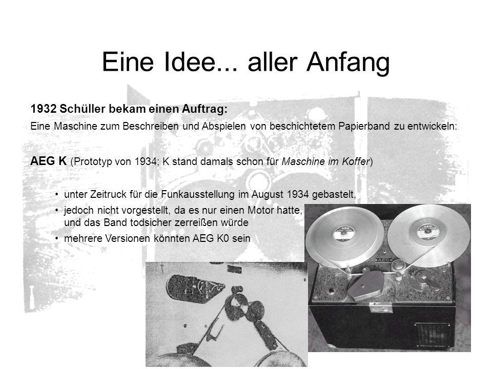 Eine Idee... aller Anfang 1932 Schüller bekam einen Auftrag: