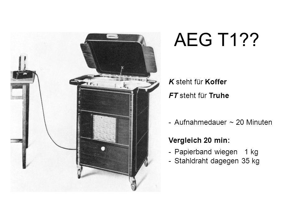 AEG T1 K steht für Koffer FT steht für Truhe