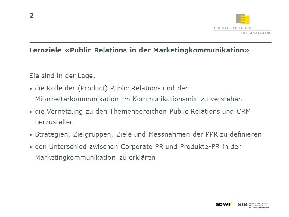 Lernziele «Public Relations in der Marketingkommunikation»
