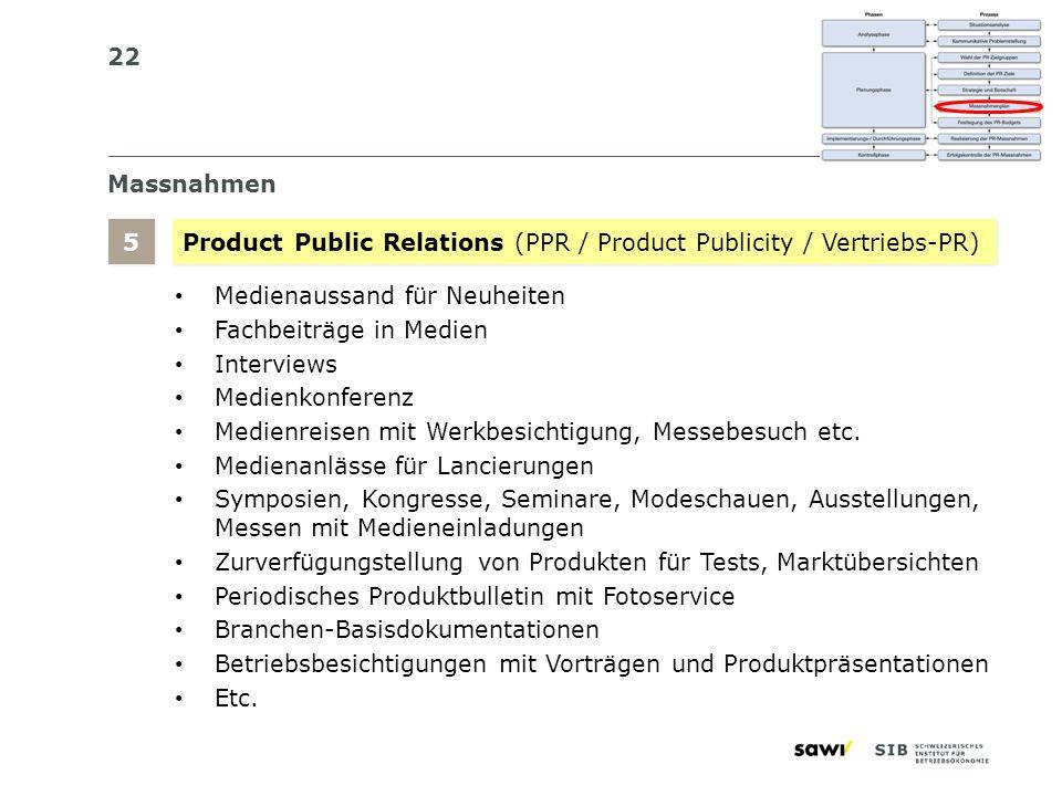 Massnahmen 5. Product Public Relations (PPR / Product Publicity / Vertriebs-PR) Medienaussand für Neuheiten.