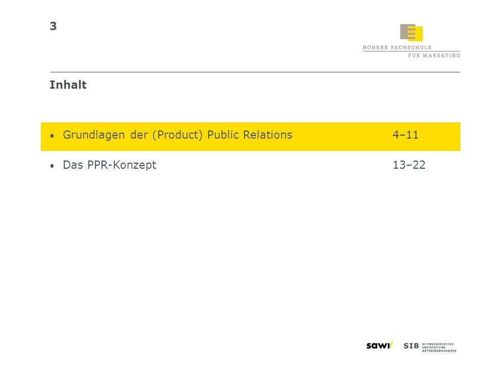 Inhalt Grundlagen der (Product) Public Relations 4–11 Das PPR-Konzept 13–22