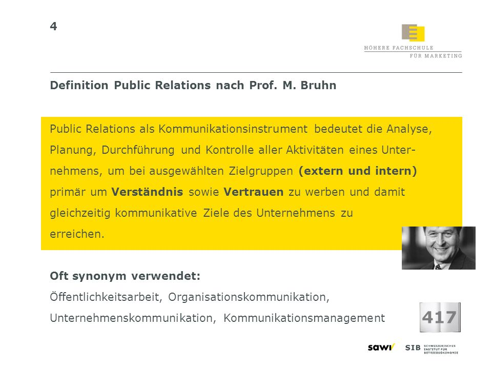417 Definition Public Relations nach Prof. M. Bruhn