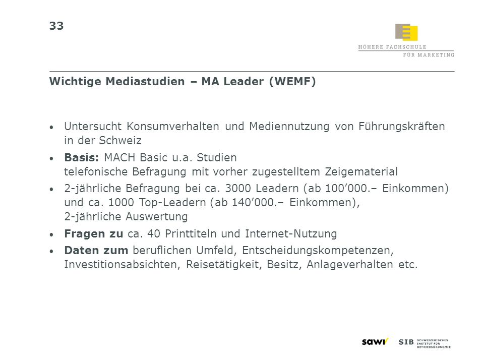 Wichtige Mediastudien – MA Leader (WEMF)