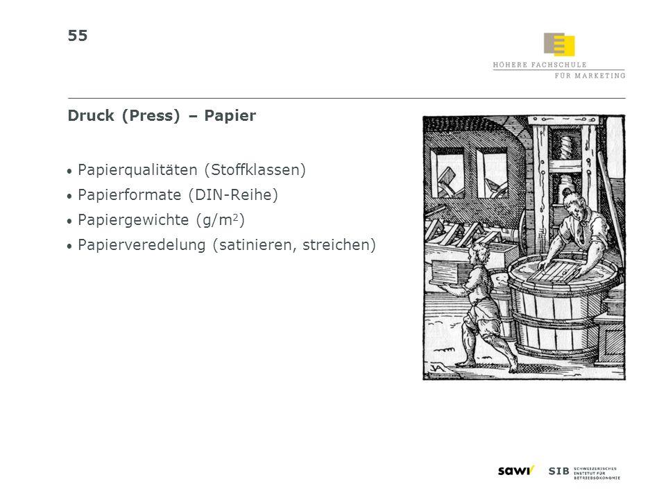 Druck (Press) – PapierPapierqualitäten (Stoffklassen) Papierformate (DIN-Reihe) Papiergewichte (g/m2)