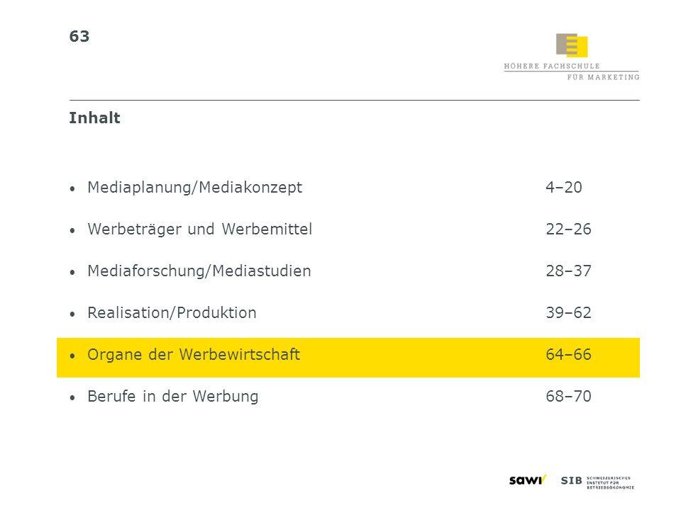 InhaltMediaplanung/Mediakonzept 4–20. Werbeträger und Werbemittel 22–26. Mediaforschung/Mediastudien 28–37.