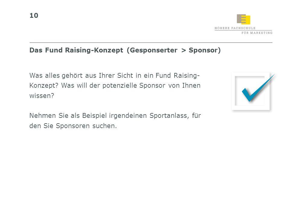 Das Fund Raising-Konzept (Gesponserter > Sponsor)