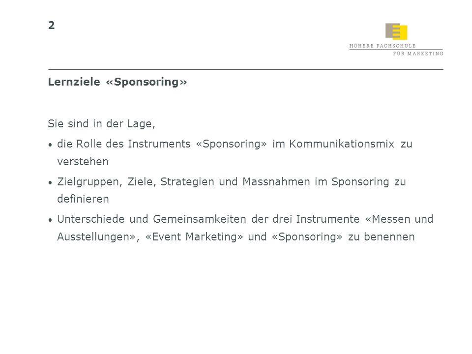 Lernziele «Sponsoring»