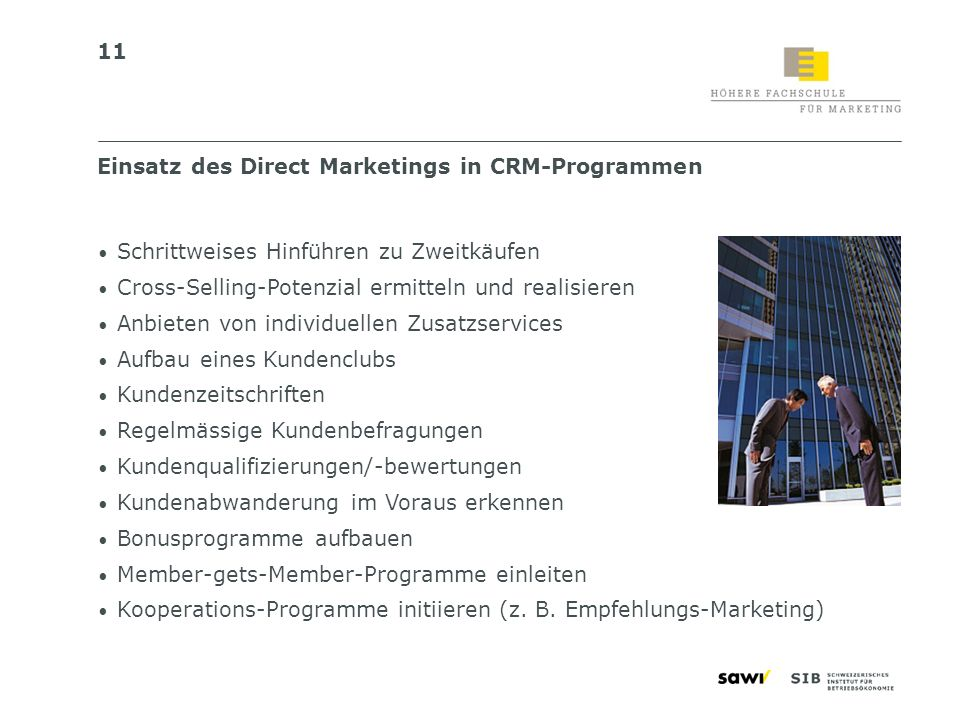 Einsatz des Direct Marketings in CRM-Programmen