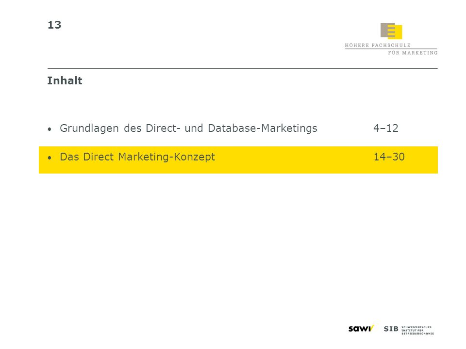 Inhalt Grundlagen des Direct- und Database-Marketings 4–12 Das Direct Marketing-Konzept 14–30