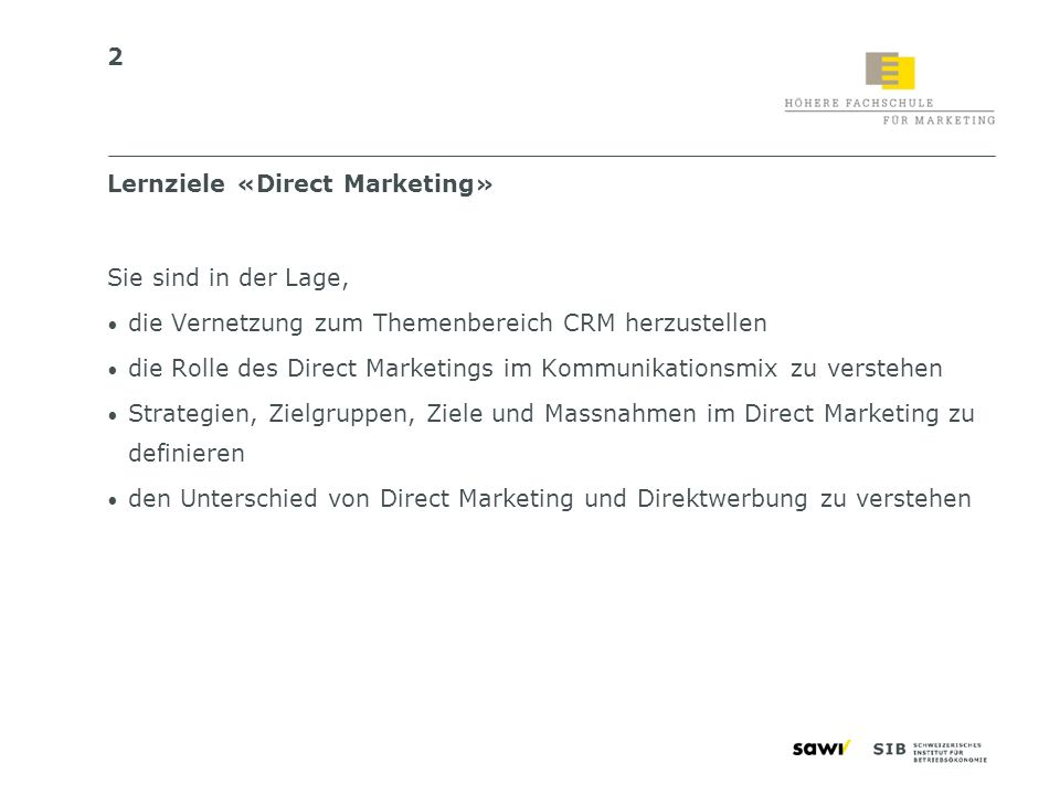 Lernziele «Direct Marketing»