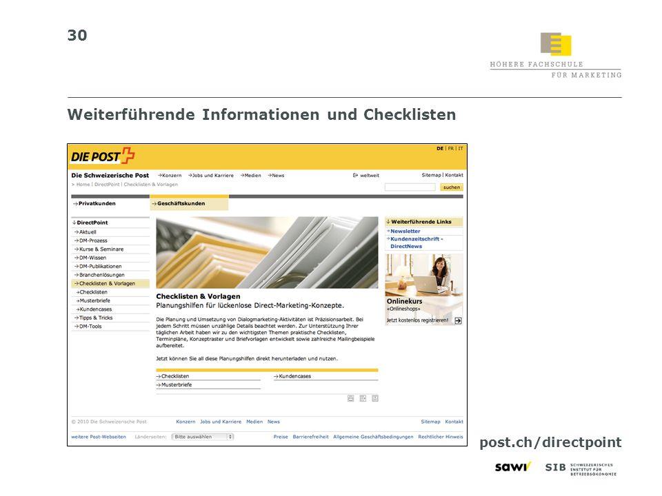 Weiterführende Informationen und Checklisten