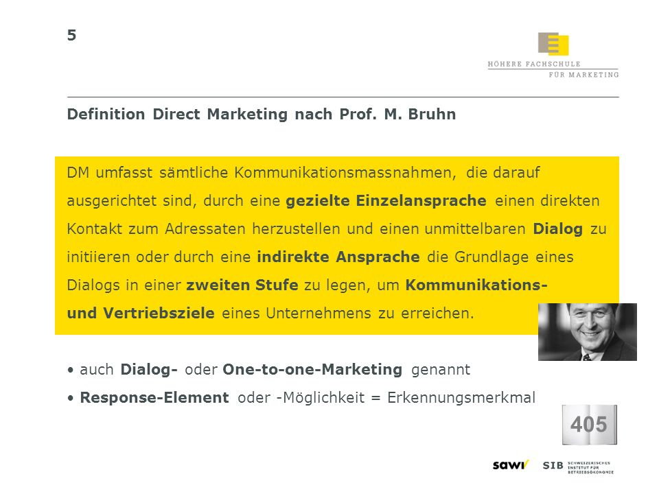 405 Definition Direct Marketing nach Prof. M. Bruhn