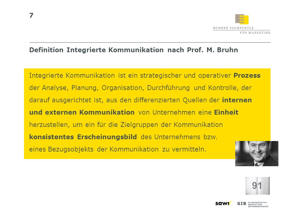 91 Definition Integrierte Kommunikation nach Prof. M. Bruhn