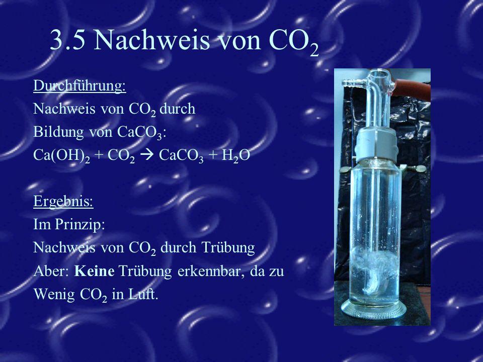 3.5 Nachweis von CO2 Durchführung: Nachweis von CO2 durch
