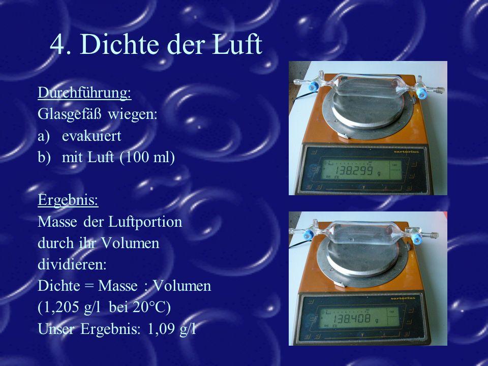 4. Dichte der Luft Durchführung: Glasgefäß wiegen: evakuiert