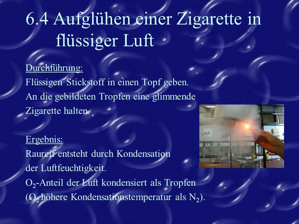 6.4 Aufglühen einer Zigarette in flüssiger Luft