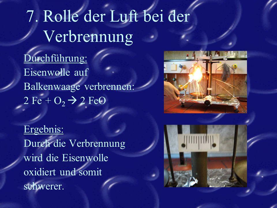 7. Rolle der Luft bei der Verbrennung