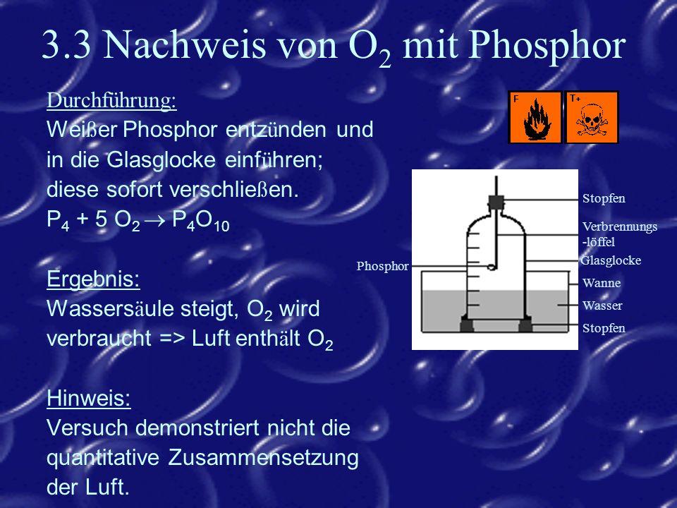 3.3 Nachweis von O2 mit Phosphor