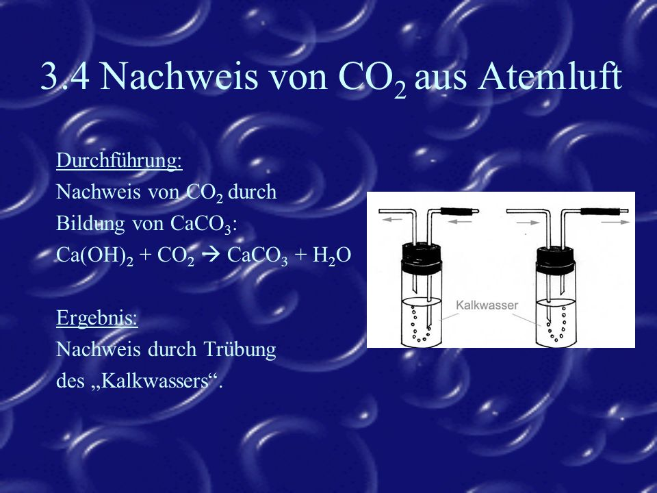 3.4 Nachweis von CO2 aus Atemluft