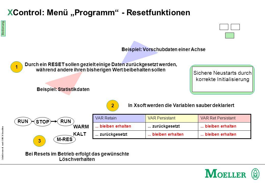 "XControl: Menü ""Programm - Resetfunktionen"