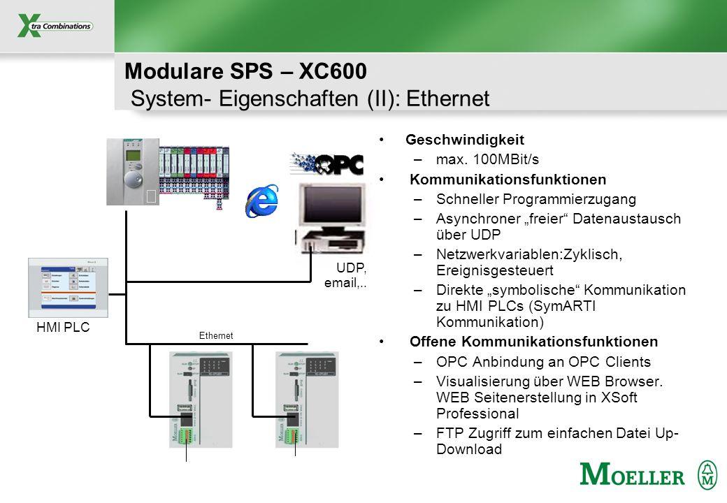 Modulare SPS – XC600 System- Eigenschaften (II): Ethernet
