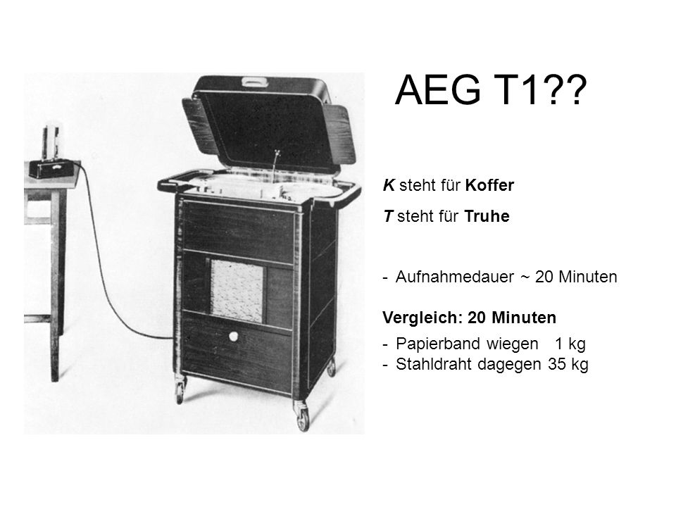AEG T1 K steht für Koffer T steht für Truhe