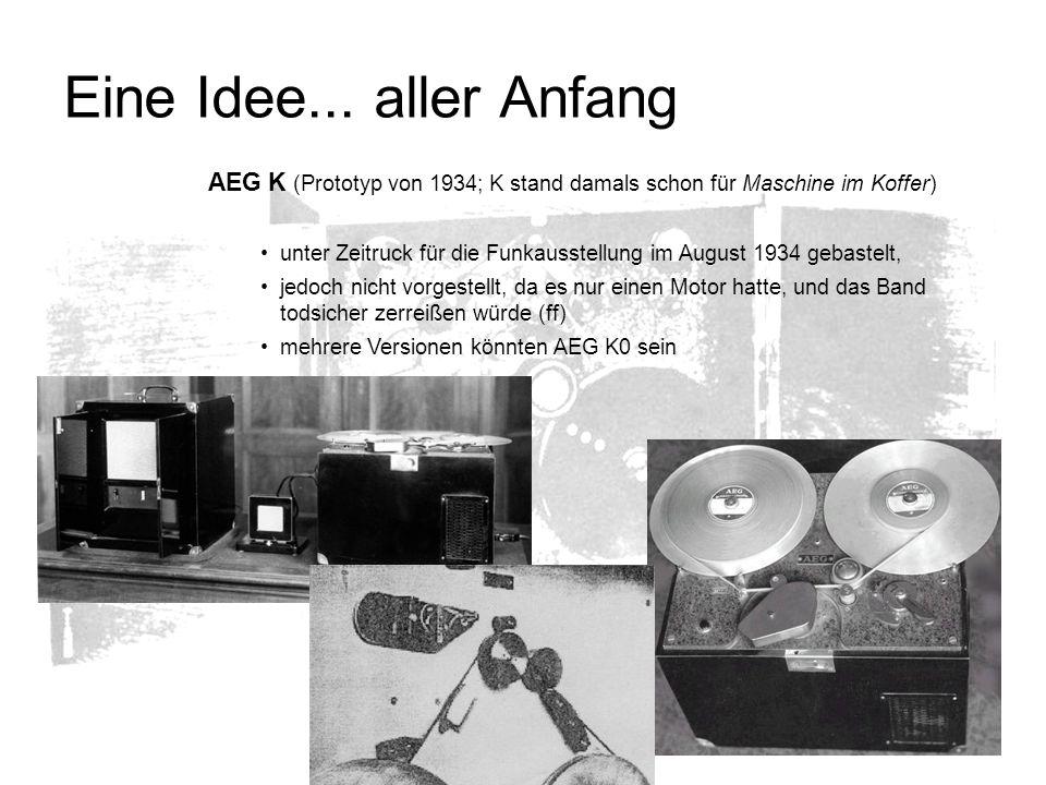 Eine Idee... aller AnfangAEG K (Prototyp von 1934; K stand damals schon für Maschine im Koffer)