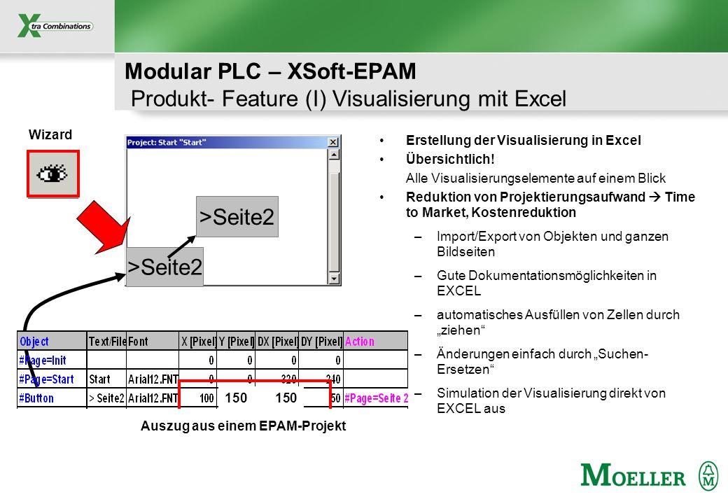 Modular PLC – XSoft-EPAM Produkt- Feature (I) Visualisierung mit Excel